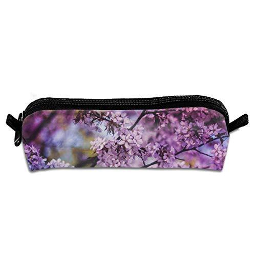 Purple Flowers Students Canvas Pencil Case Pen Bag Pouch Stationary Case -