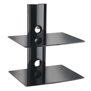 VonHaus Etagère murale noire 2 tablettes pour supports numériques (lecteurs DVD, consoles…)