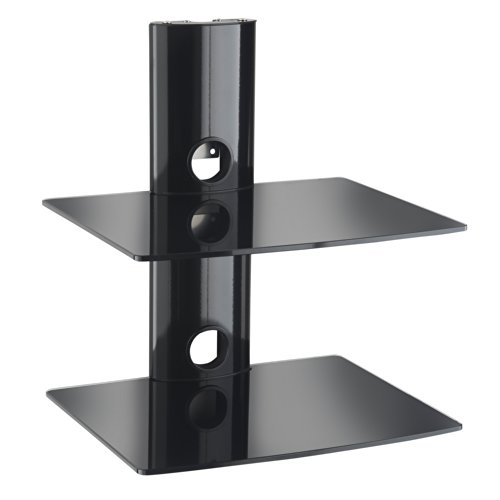VonHaus 2x Floating Black Glass Shelves Mount Bracket for DVD/Blu-Ray Player, Satellite/Cable Box, Games Console - Black