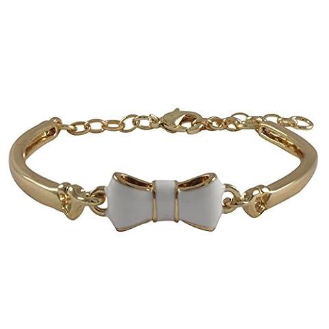 Kleine Schätze - Weiß Emaille Bogen, Vergoldet Armreif Armband Armband, 5.5