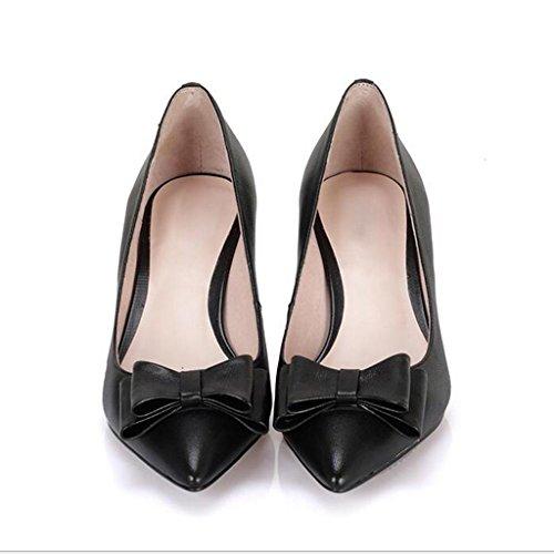 W&LM Signorina Tacchi alti Cravatta a farfalla Tacchi alti appuntito Con il bicchiere Scarpe singole scarpe casual Black