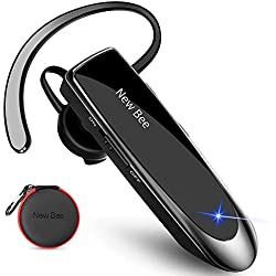 Main Libre Bluetooth Oreillette, New Bee Casque sans Fil Bluetooth avec Microphone 60 Jours en Veille Casque Mains Libres avec Microphone Casque pour iPhone Samsung, HTC, LG, Sony, PC (Noir)