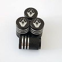 Renault negro grabada con láser Válvula de Neumático Tallo Dust Caps para ...