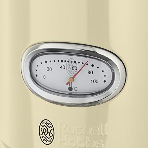 Russell Hobbs Retro Vintage 21672-70 Wasserkocher 2400 W, 1.7 l mit  stylischer Wassertemperaturanzeige, Schnellkochfunktion, creme - 3