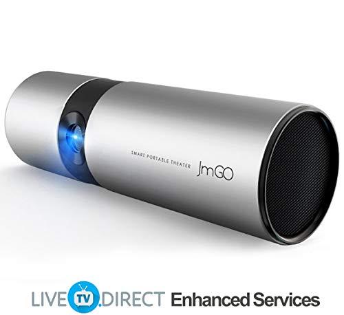 Video Beamer, LiveTV.Direct Erweitert JmGO P2 Native 720p HD Android Smart TV 3D Heimkino-Projektor Eingebaut 15600mAh Batterien