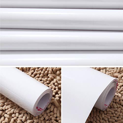 KINLO weiss 61 * 500cm Klebefolie Möbelfolie selbstklebend Tapete Wandtattoo dekorative Küchenfolie Aufkleber Dekorfolie für Möbel Küche Tür & Deko -