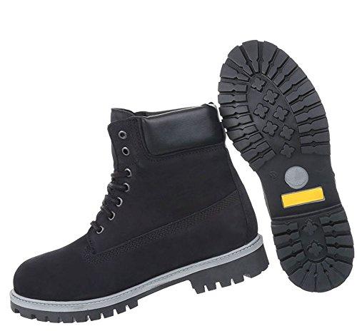 Herren Schuhe Boots Leder Schnürer Schwarz