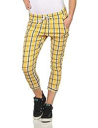 83249d4345 ZARMEXX Pantalones Mujer Casual Pantalones Golf Karo Pantalones de Verano  Pantalones de Cuadros Hipsters Cintura elástica
