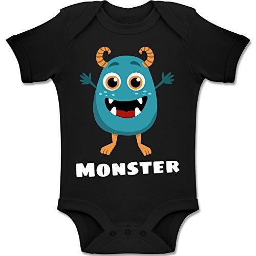 Shirtracer Partner-Look Familie Baby - Monster Partner-Look Kind - 18-24 Monate - Schwarz - BZ10 - Baby Body Kurzarm Jungen Mädchen