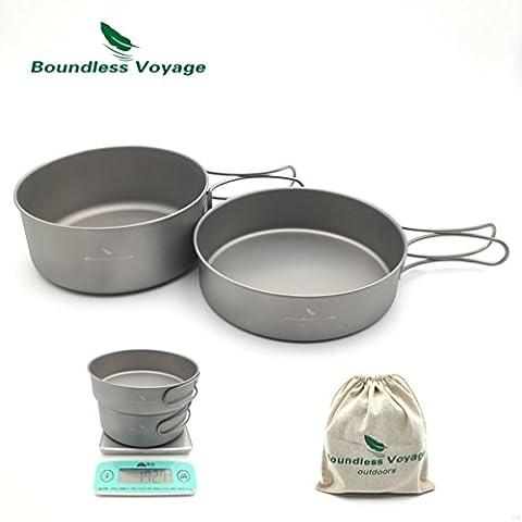 Outdoor Camping Ultralight 2PCS Titanium Pot Set Cooking Pot With Titanium Pan Picnic Cookware 700ML+500ML Only 172.7g