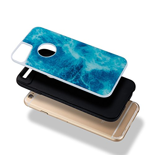 Custodia iPhone 6/6S, ISAKEN Cover per Apple iPhone 6 4.7 [TPU Shock-Absorption] - Marmo Modello Naturale Custodia Soft TPU Sottile Custodia Case Morbido Protettiva Bumper Caso, Marmo Viola Navy Blue