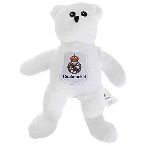 Real Madrid FC White Mini Plush Soft Beanie Teddy Bear Club Badge Crest Official