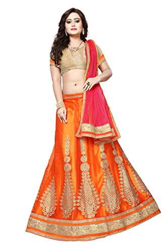 Women's Orange Color Embroidered Lehenga By Manvaa Brand-SAI-SAINX5102