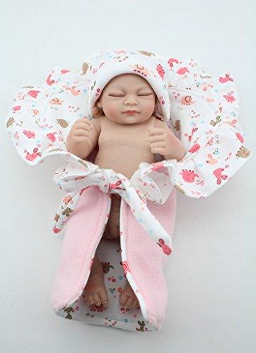 NPKDOLL Réincarné Bébé Poupée Vinyle Silicone Dur 10 Pouces 26Cm Yeux Waterproof Jouet Rose Fille Quilt Fermer Reborn Baby Doll A1FR