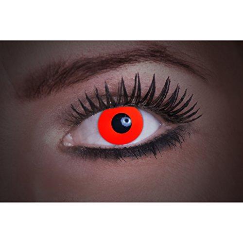 Eyecatcher Flash Red Color Fun, farbige UV-Kontaktlinsen / Motivlinsen, leuchten bei Schwarzlicht, 1er Pack (1 x 2 Stück)