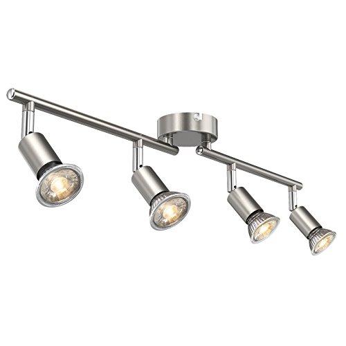 Ascher LED Deckenleuchte Schwenkbar ( Inkl. 4 x 5W GU10 LED Lampe, 450LM, Warmweiß), LED Deckenlampe / LED Deckenstrahler / LED Deckenspot - GU10-Fassung