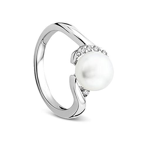 Orovi Damen-Ring Silver mit Zirkonia Brillantschliff und Perle 925 Sterling Silber Süßwasser-Zuchtperlen WeißRhodium plated
