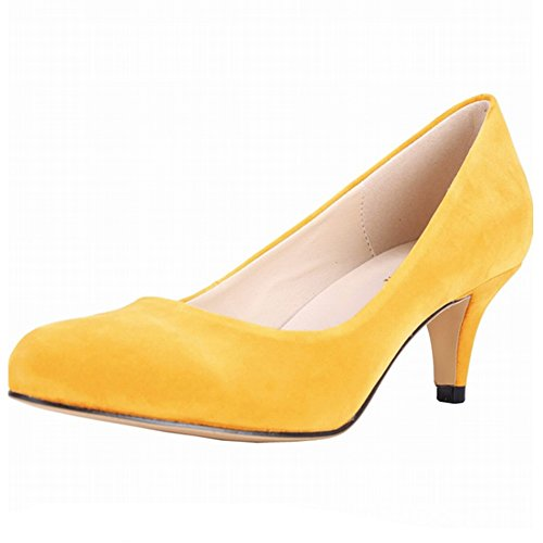 YAOYUE Pointed Toe Low Mid Kitten Heels Dress Court Shoes Wedding Office...