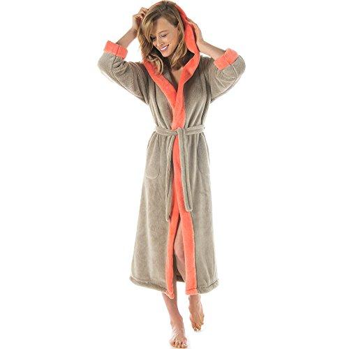 Bademantel mit Kapuze Damen oder Herren flauschiger Sherpa-Fleece waden-langer Saunamantel CelinaTex 5000840 Serie Ohio L taupe lachs