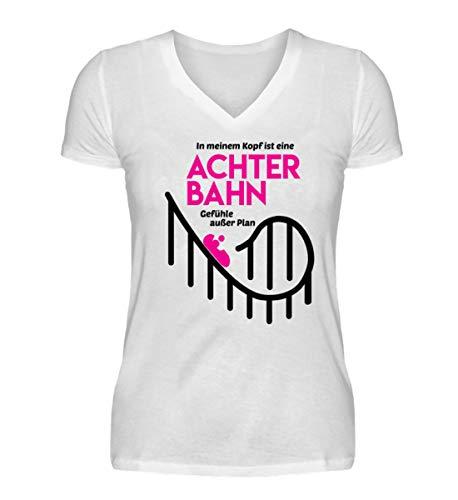 Shirtee Achterbahn - Gefühle außer Plan - Helene - V-Neck Damenshirt -XXL-Weiß