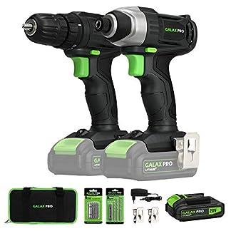Taladro Atornillador, GALAX PRO Atornillador Impacto, 20V Baterias 1.3Ah con Cargador, 2 Velocidades, Luz de trabajo LED/GPD6001