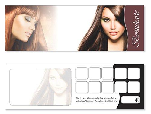 Premium Bonuskarten-Set (200 Stk.) Bonuskarten mit 10 Stempelfeldern Friseur Bonuskarten, Coiffeur Treuekarten, Frisör Kundenkarten passend für Wellness, Massagen, Kosmetik uvm. - Haarpflege Essen