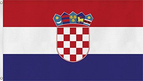 Flagge - Fahne - Hissfahne mit zwei Metallösen zur Befestigung und zum Hissen - Größe 90 x 150 cm wetterfest Farbe Kroatien