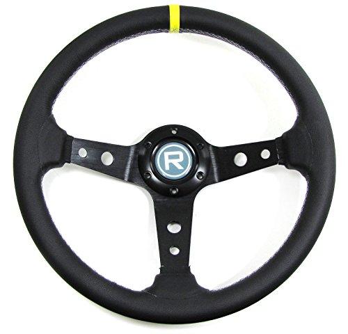 Carparts-Online 29562 350mm Sport Lenkrad geschüsselt Echt Leder schwarz Rennsport TYP 5