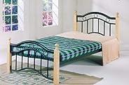 Single Bed, Wood and Steel Build with Oak Wooden Beige Legs - 190(L) x 90(W) x 120(H) cm