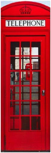 """1art1 49309 Poster da porta """"Londra - cabine telefoniche rosse"""" 158x53 cm"""