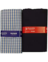 Raymond Makers Men's Cotton Unstitched 2.4 m Shirt and Trouser Fabric Combo (Multicolour, Free Size)