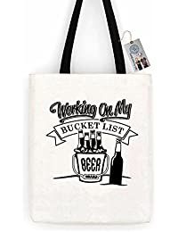 Working on my Bucket List Beer Funny Cotton Canvas Tote Bag Carry All Day  Bag c09d2e043f