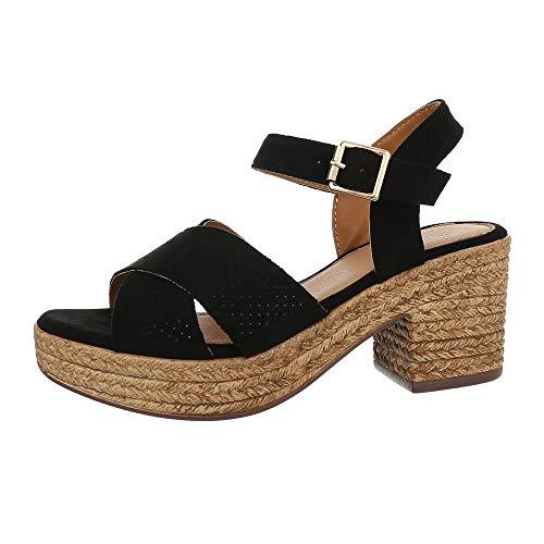Schwarz Kleid Sandalen (Ital-Design Damenschuhe Sandalen & Sandaletten High Heel Sandaletten Synthetik Schwarz Gr. 39)