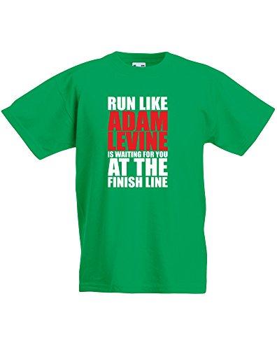 run-like-adam-levine-is-waiting-enfant-t-shirt-imprim-vert-blanc-rouge-12-13-ans