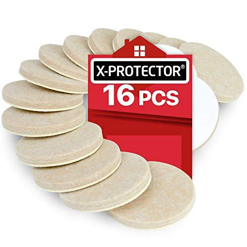Filzgleiter X-PROTECTOR 16 Stück 50 mm - robuste Möbelgleiter Bodenschoner 5 mm dick - Premium Klebepads Filzgleiter - Möbel Filzgleiter Bester Bodenschutz für Holzböden