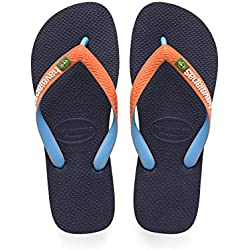 Havaianas Brasil Mix, Chanclas Unisex Adulto, Azul (Navy/Neon Orange), 39/40 EU