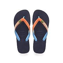 Havaianas Unisex's Brasil Mix Flip Flops, Navy/NEON Orange, 1/2 UK