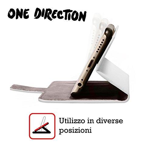 Offizielle One Direction Harry Im Voll Gruppenbild Solo Brieftasche Handyhülle aus Leder für Apple iPhone 5 / 5s / SE Niall Hälfte