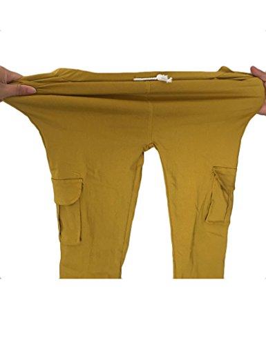 Bestgift Femme Pantalon collant ceinture à lacet sportif Rouge