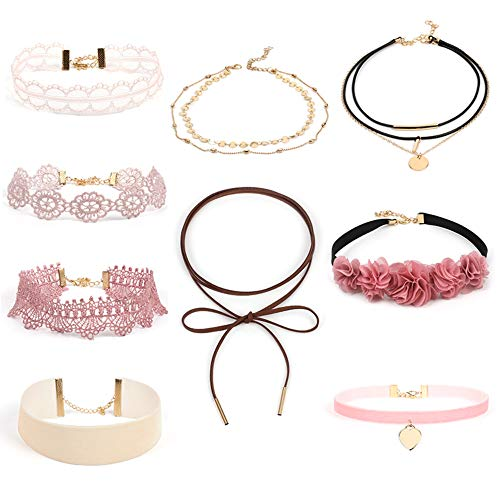 Oblique Unique 9 Stück Halsbänder Halsketten Damen Mädchen Kette Choker Set mit Blumen Herz...