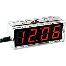 KKmoon Kompakte Digitale 4-stellige LED Talking Clock DIY Kit Licht Steuerung Temperatur Datum Zeit Transparent Vitrine(Rot)