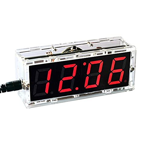 KKmoon Kompakte Digitale 4-stellige LED Talking Clock DIY Kit Licht