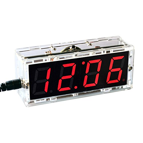 KKmoon Kompakte Digitale 4-stellige LED Talking Clock DIY Kit Licht Steuerung Temperatur Datum Zeit Transparent Vitrine(Rot)
