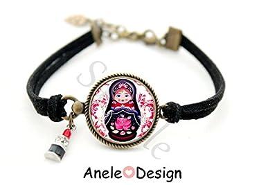 Bracelet Poupée Russe - violet noir rose cabochon