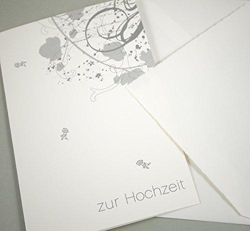 Susi Winter Design & Paper Edle Hochzeitskarte, echtes Büttenpapier, innen blanko, mit gefüttertem Büttenumschlag, Motiv in Silber
