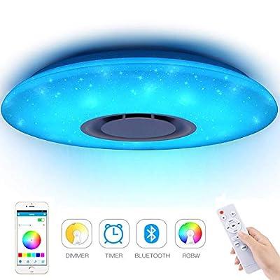 Luci da soffitto a LED per musica 36W, Houkiper Luci per musica Bluetooth Telecomando LED Dimmerabile Plafoniera Stella rotonda RGBW Cambiamento di colore 185-265V APP Telecomando