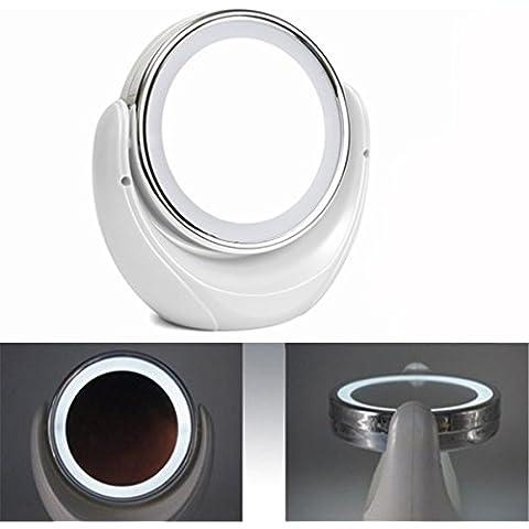 Nuovo LED doppio girevole trucco specchio Lady Bellezza Desktop luce