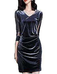 Abito Longuette da Donna in Velluto Midi a Manica Lunga con Scollo a V Elegante  Vestito 5960a5b56c8