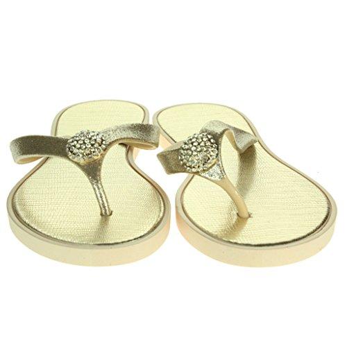 Frau Damen Crystal Detailliert Zehenpfosten Jeden Tag Leichte Casual Komfort Slip On Flache Sandalen Schuhe Größe Gold