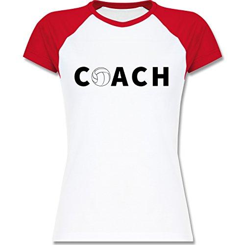 Volleyball - Volleyball Coach Trainer - zweifarbiges Baseballshirt / Raglan T-Shirt für Damen Weiß/Rot